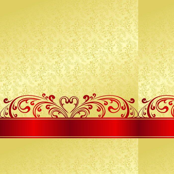 Tapeta Pixerstick Luxury Background zdobené Vintage ornament: zlatá a červená. - Pozadí