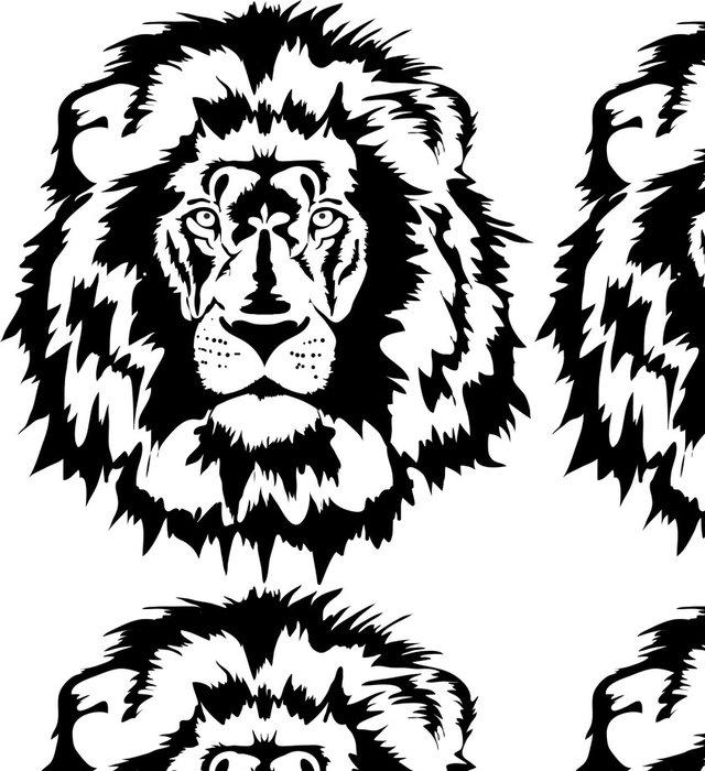 Tapeta Pixerstick Lví hlavy black - Savci