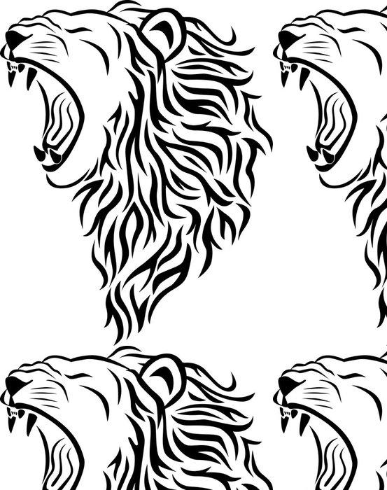 Tapeta Pixerstick Lví hlavy tetování - Imaginární zvířata