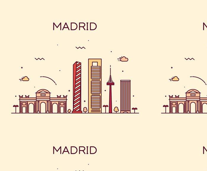 Tapeta Pixerstick Madrid skyline moderní vektorové ilustrace lineární - Památky