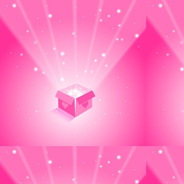 Tapeta Pixerstick Magic Box s létajícími srdce na růžové pozadí - Mezinárodní svátky