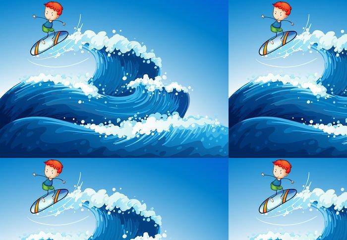 Tapeta Pixerstick Malý chlapec surfování na moři - Prázdniny