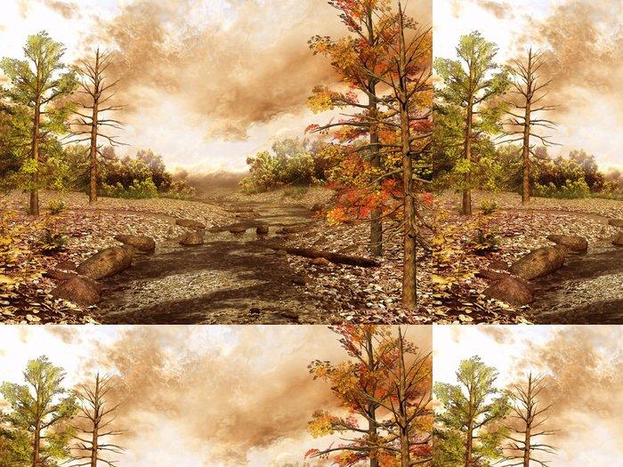 Vinylová Tapeta Malý potok, který teče přes les - Roční období