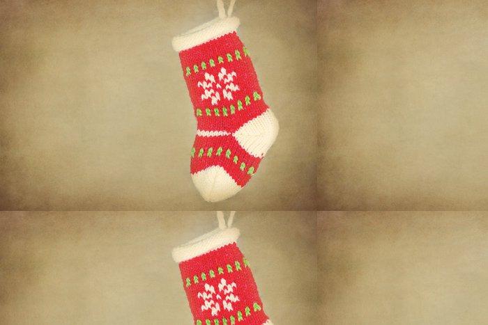Tapeta Pixerstick Malý vánoční punčochy visí na rustikální pozadí - Mezinárodní svátky