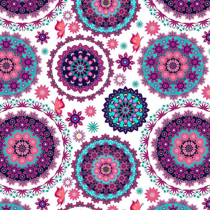 Tapeta Pixerstick Mandala květinovým vzorem a motýli - Pozadí