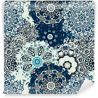 Vinylová Tapeta Mandala květiny bezešvé vzor na modrém pozadí