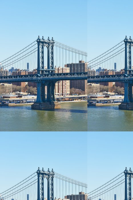Tapeta Pixerstick Manhattan Bridge a panorama pohled z Brooklyn Bridge - Americká města