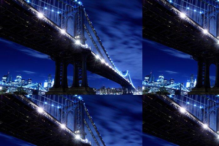 Tapeta Pixerstick Manhattan Bridge At Night Lights, New York City - New York