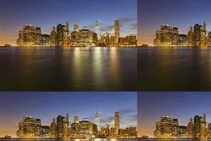 Tapeta Pixerstick Manhattan Skyline z Brooklynu v noci - Americká města