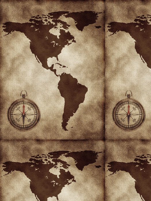 Tapeta Pixerstick Mapa s kompasem Severní a Jižní Amerika - Amerika
