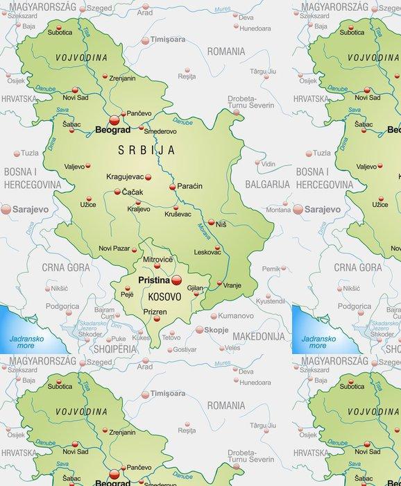 Tapeta Pixerstick Mapa Srbska se sousedními zeměmi a velkými písmeny - Evropa