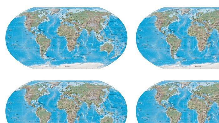 Tapeta Pixerstick Mapa světa fyzické hranice - Témata
