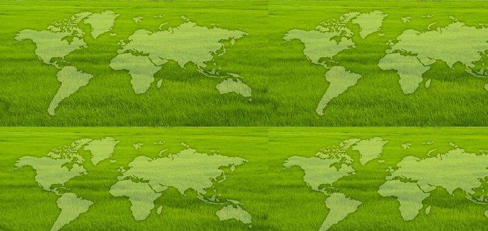 Vinylová Tapeta Mapa světa na poli tráva. - Přírodní krásy