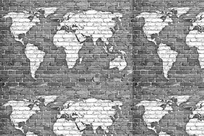 Tapeta Pixerstick Mapa světa na staré cihlové zdi - Pozadí