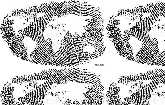 Tapeta Pixerstick Mapa světa zastoupeny v otisku prstu - Život