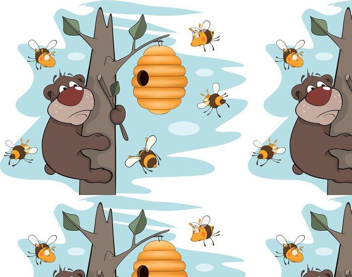 Tapeta Pixerstick Medvídě a včely. Karikatura - Ostatní Ostatní