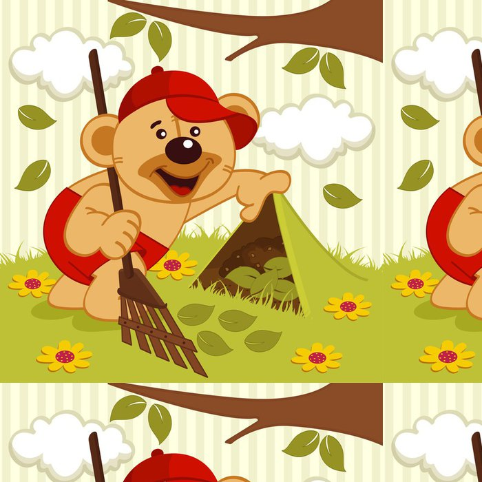 Tapeta Pixerstick Medvídek zametá trávník - vektorové ilustrace - Savci