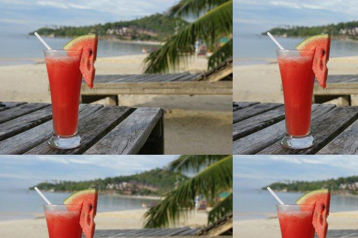 Vinylová Tapeta Meloun chvění v dlouhé sklenici na pláži - Džus