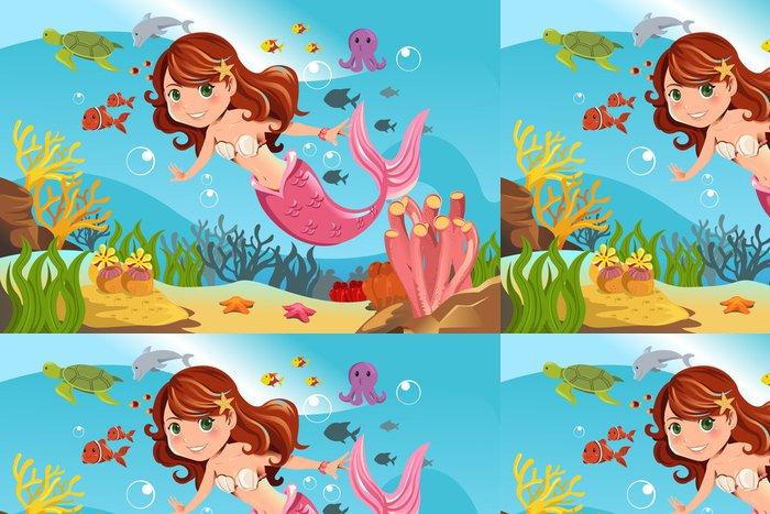 Vinylová Tapeta Mermaid v oceánu - Pro školačku