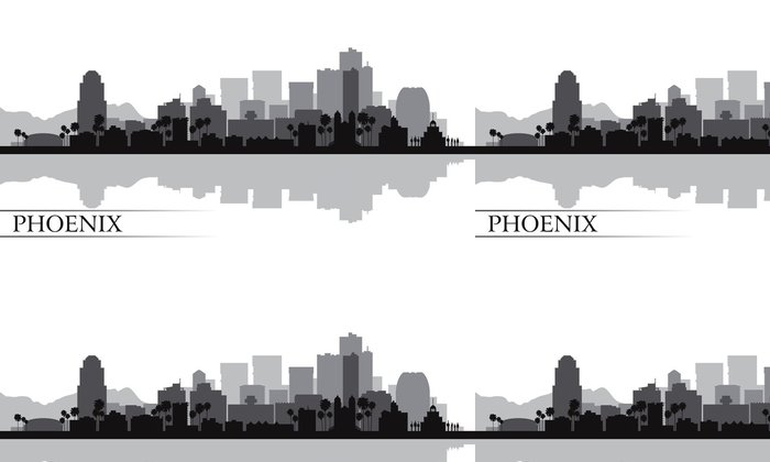 Tapeta Pixerstick Město Phoenix panorama silueta na pozadí - Amerika