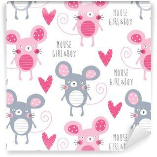 Tapeta Winylowa Miłość bez szwu wektor wzór ilustracji myszy