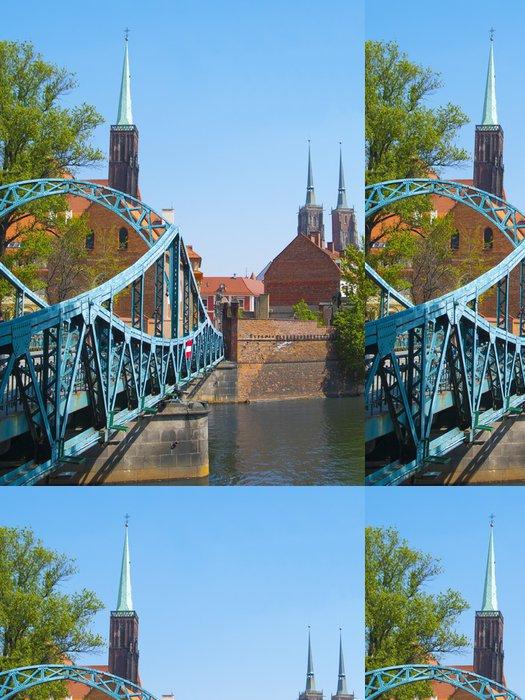 Tapeta Pixerstick Milovníci most a katedrály v polské Vratislavi - Témata