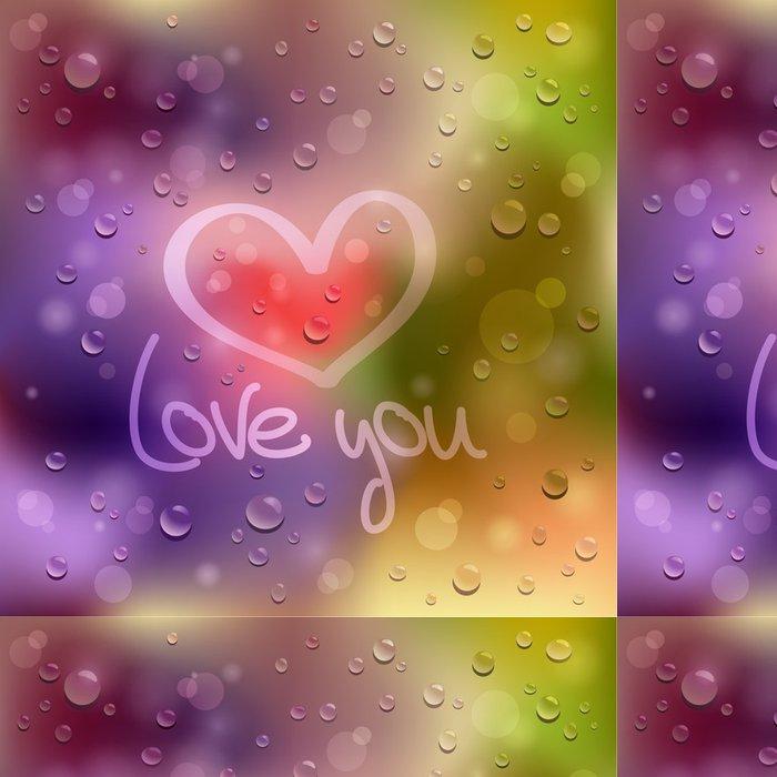 Tapeta Pixerstick Miluji tě. Tažené srdce na mokré sklo - Mezinárodní svátky