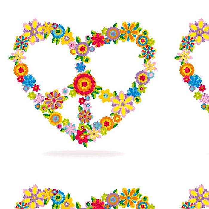 Tapeta Pixerstick Mír srdce znamení vyrobené z květin - Mír