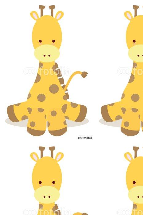 Tapeta Pixerstick Mládě žirafy, posaď se jako roztomilý styl - Nálepka na stěny