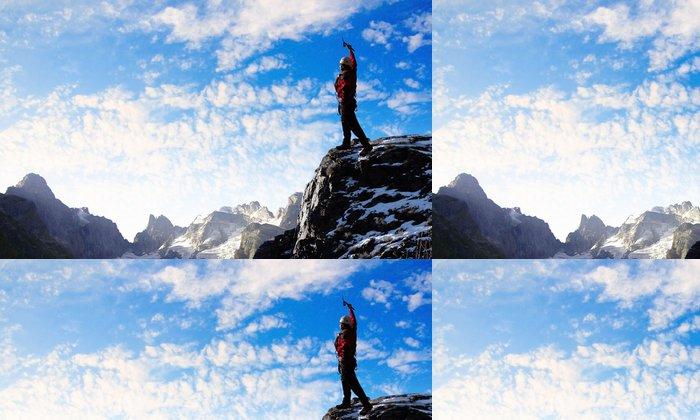 Tapeta Pixerstick Mladý turista na vrcholu hory - Muži