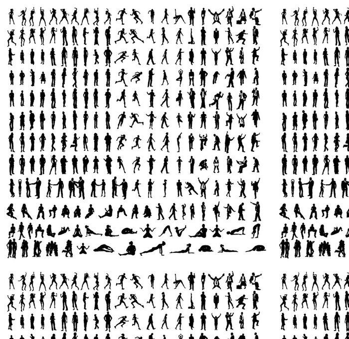 Tapeta Pixerstick Mnoho velmi podrobné siluety včetně obchodních, tanečníci, jóga - Zábava