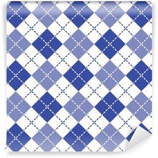 Vinylová Tapeta Modrá čárkovaná argyle patten