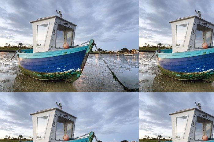 Tapeta Pixerstick Modrá Fishing Boat at Dawn - Evropa