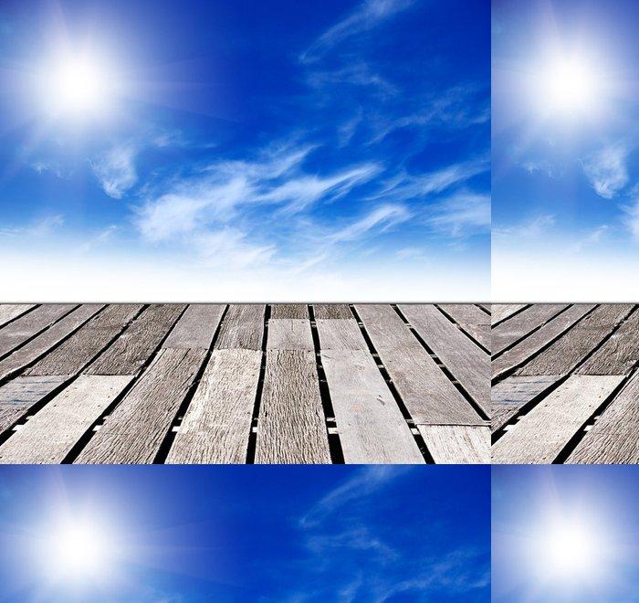 Vinylová Tapeta Modrá obloha a dřevěné podlahy pozadí - Nebe