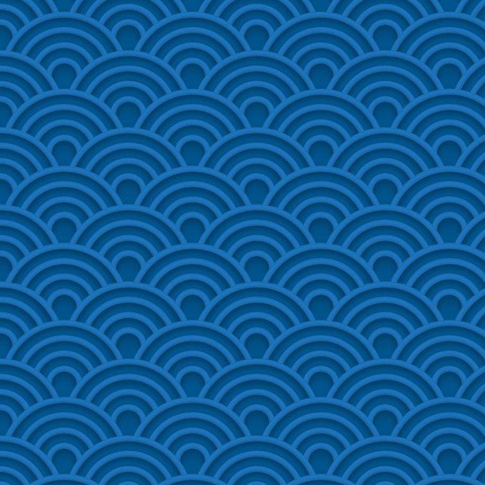 Tapeta Pixerstick Modrá vlna 3d bezproblémové vzorek - Pozadí