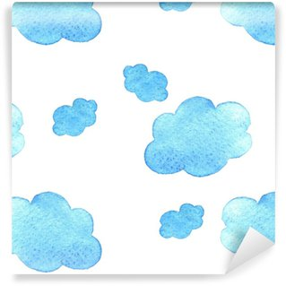 Vinylová Tapeta Modré akvarel pozadí mraky. vzor. na bílé bagdle.