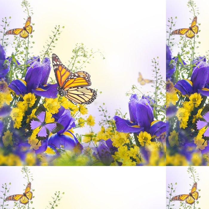 Vinylová Tapeta Modré kosatce s žluté sedmikrásky, květinové pozadí. - Květiny