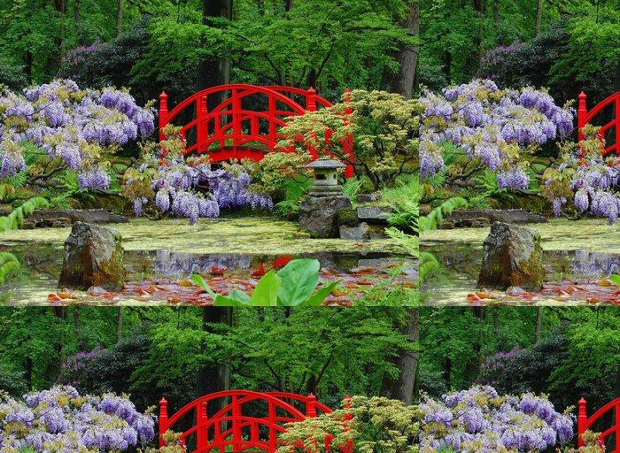 Tapeta Pixerstick Modré květy Červený most - Rostliny