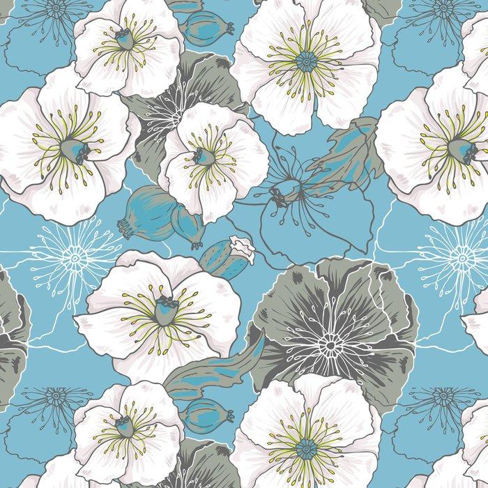 Tapeta Pixerstick Modré květy máku - vektorové bezešvé vzor - Pozadí