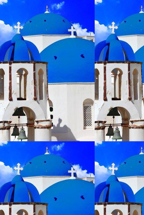 Tapeta Pixerstick Modrý kostel kopule - symbolem jedinečné Santorini - Evropa