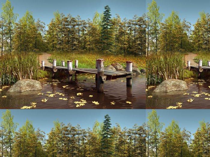 Tapeta Pixerstick Molo na jezeře v podzimním lese - Roční období