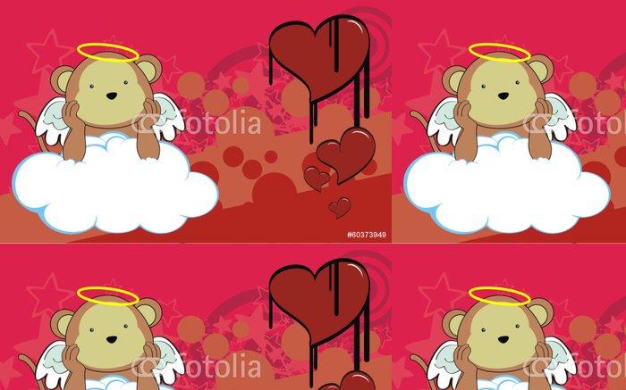 Tapeta Pixerstick Monkey andílek kreslená pozadí - Pozadí