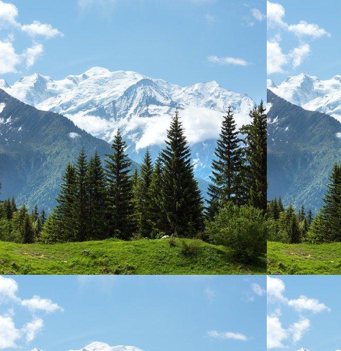 Tapeta Pixerstick Mont Blanc horský masív (pohled z Plaine Joux okraji) - Roční období