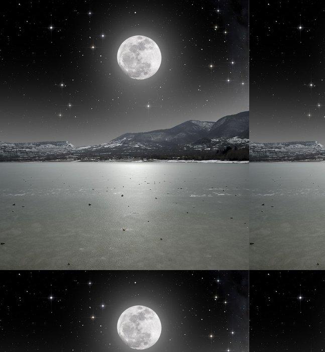 Tapeta Pixerstick Moonlight na ledového jezera - Roční období