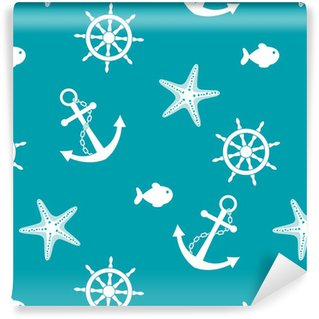 Vinylová Tapeta Moře bezešvé pozadí s kotvením, kola, ryby, hvězdice