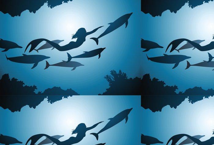Tapeta Pixerstick Mořská panna a delfíni - Imaginární zvířata