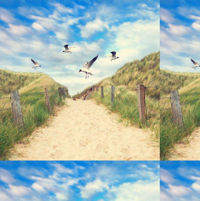 Tapeta Pixerstick Möwen fliegen über den Strandzugang - Prázdniny