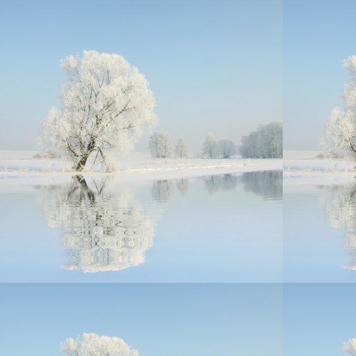Tapeta Pixerstick Mrazivý zimní stromy proti modré obloze s odrazem ve vodě - Venkov