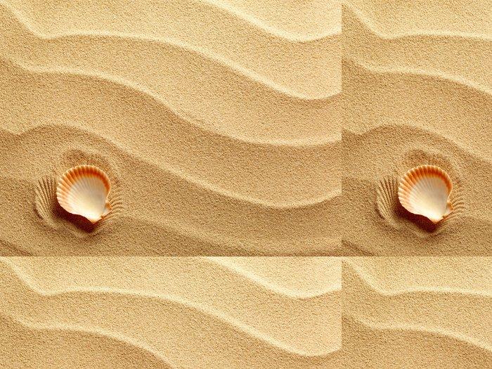 Tapeta Pixerstick Mušle s pískem jako pozadí - Prázdniny