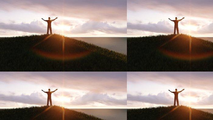 Tapeta Pixerstick Muž stojící na vrcholu hory - Outdoorové sporty